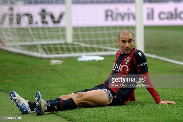Rodrigo Palacio of Bologna FC reacts during the Serie A match between Bologna FC and Brescia Calcio at Stadio Renato Dall'Ara on February 01 2020 in...