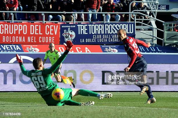 Rodrigo Palacio of Bologna FC scores a goal as was in offside during the Serie A match between Bologna FC and ACF Fiorentina at Stadio Renato...