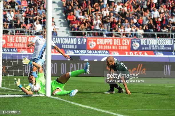 Rodrigo Palacio of Bologna FC scores his team's second goal during the Serie A match between Bologna FC and SS Lazio at Stadio Renato Dall'Ara on...