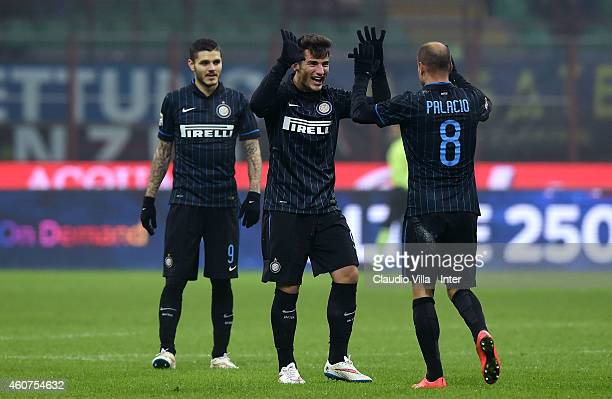 Rodrigo Palacio of FC Internazionale celebrates after scoring the second goal during the Serie A match betweeen FC Internazionale Milano and SS Lazio...