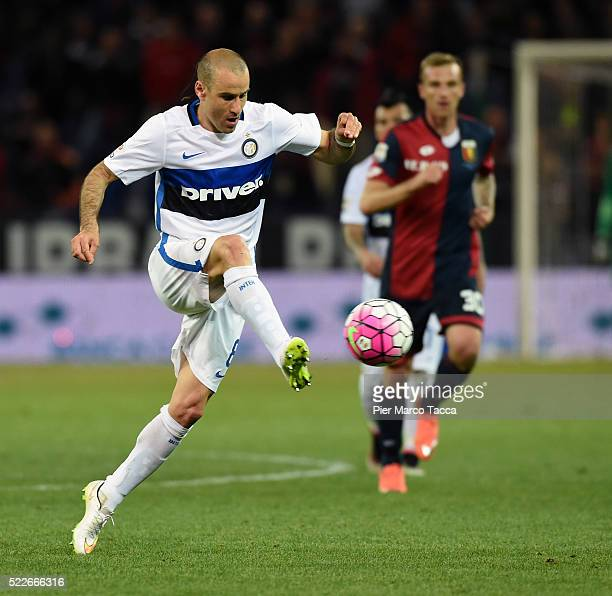 Rodrigo Palacio of FC Internazionale in action during the Serie A match between Genoa CFC and FC Internazionale Milano at Stadio Luigi Ferraris on...