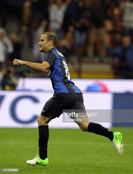 Rodrigo Palacio of FC Internazionale Milano celebrates after scoring the first goal for his team during the UEFA Europa League play-off round second...