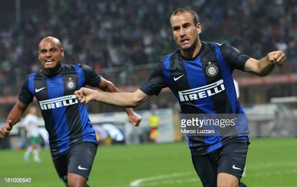 Rodrigo Palacio of FC Internazionale Milano celebrates his goal during the UEFA Europa League play-off round second leg match between FC...