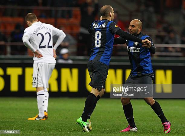Rodrigo Palacio of FC Internazionale Milano celebrates his goal with teammate Jonathan Cicero Moreira during the UEFA Europa League Round of 16...