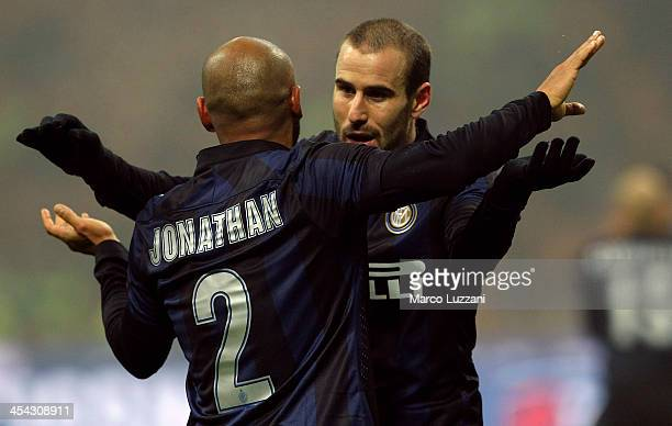 Rodrigo Palacio of FC Internazionale Milano celebrates his goal with teammate Cicero Moreira Jonathan during the Serie A match between FC...