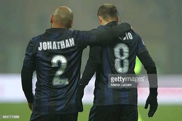 Rodrigo Palacio of FC Internazionale Milano celebrates his goal with teammate Cicero Moreira Jonathan during the Serie A match between FC...