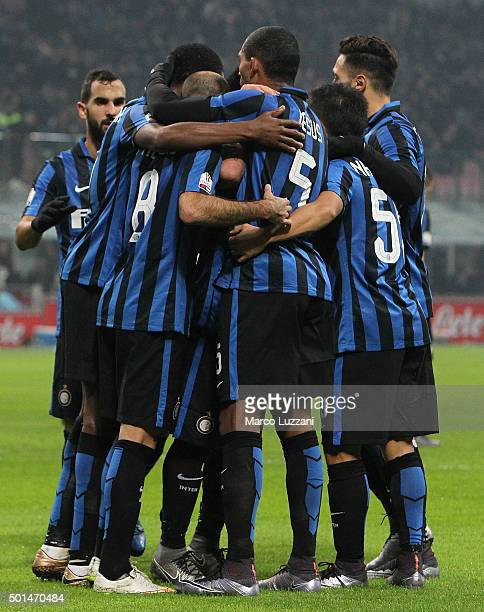 Rodrigo Palacio of FC Internazionale Milano celebrates with his teammates after scoring the opening goal during the TIM Cup match between FC...
