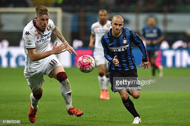 Rodrigo Palacio of FC Internazionale Milano in action against Pontus Jansson of Torino FC during the Serie A match between FC Internazionale and...