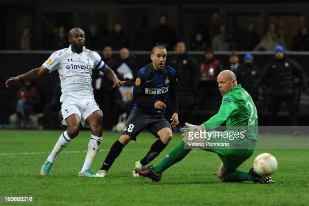 Rodrigo Palacio of FC Internazionale Milano scores a goal during the UEFA Europa League Round of 16 Second Leg match between FC Internazionale Milano...