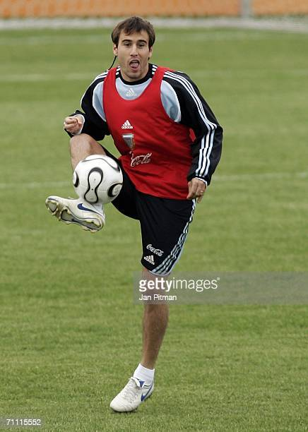 Rodrigo Palacio plays the ball during a Argentina team training session on June 3 2006 in Herzogenaurach Germany The Argentina squad are preparing...