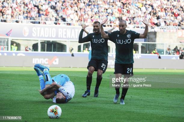 Rodrigo Palacio reacts after committing a foul into the penalty area on Sergj Milinkovic Savic of SS Lazio during the Serie A match between Bologna...