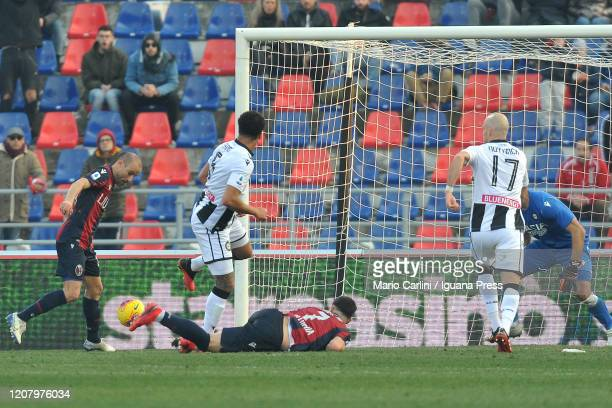 Rodrigo Palacio scores a goal during the Serie A match between Bologna FC and Udinese Calcio at Stadio Renato Dall'Ara on February 22 2020 in Bologna...