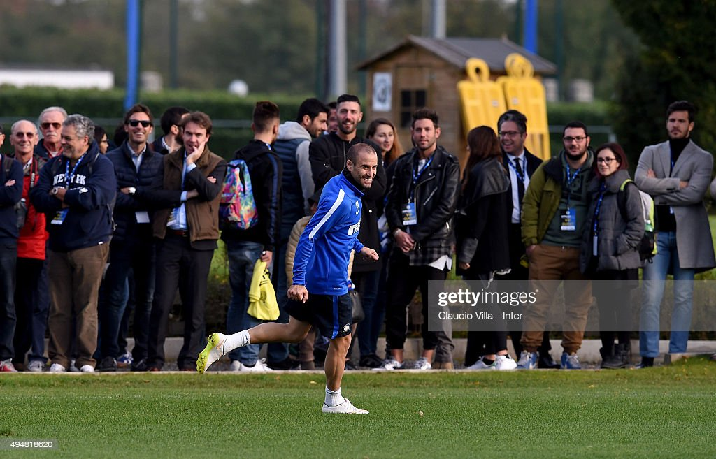 Rodrigo Palacio smiles during a FC Internazionale training session at the club's training ground at Appiano Gentile on October 29, 2015 in Como, Italy.