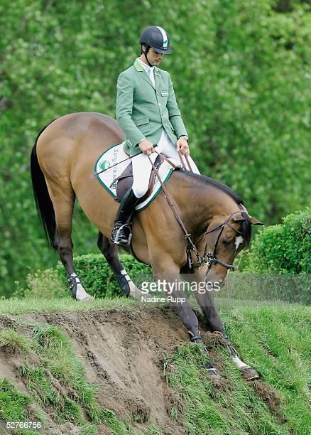 Rodrigo Pessoa of Brasilia on his horse Rockfort refuses the Tschibo Wall during the Sprehe Feinkost Preis of the German Jumping and Dressage Grand...