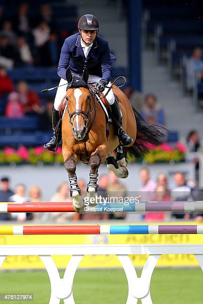 Rodrigo Pessoa of Brazil rides on Hilgarie of the SparkassenYoungstersCup competition during the 2015 CHIO Aachen tournament at Aachener Soers on May...