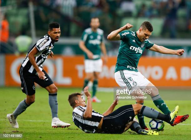 Rodrigo Pimpao of Botafogo and Moises of Palmeiras compete for the ball during the match for the Brasileirao Series A 2018 at Allianz Parque Stadium...