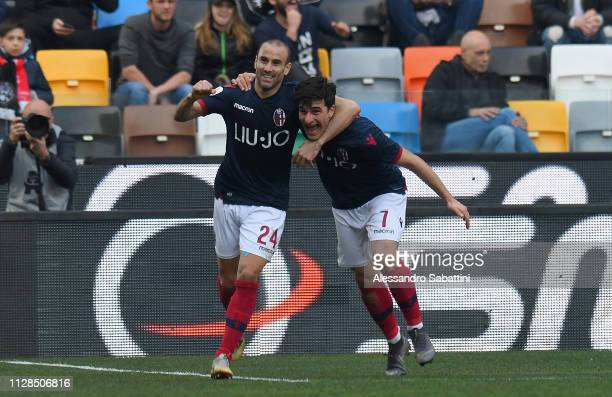 Rodrigo Plalacio of Bologna FC celebrates after scoring the 11 goal during the Serie A match between Udinese and Bologna FC at Stadio Friuli on March...