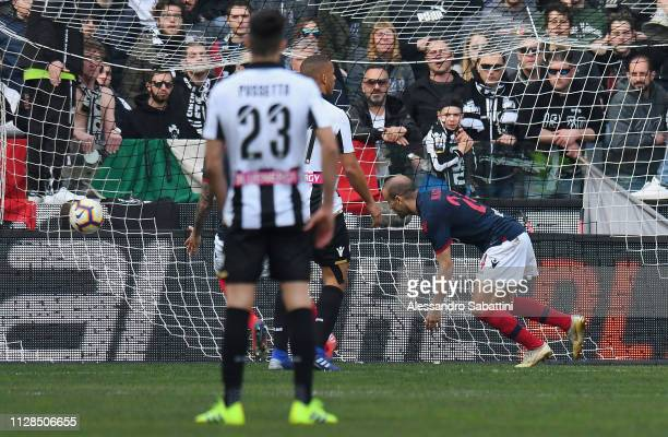 Rodrigo Plalacio of Bologna FC scores the 11 goal during the Serie A match between Udinese and Bologna FC at Stadio Friuli on March 3 2019 in Udine...