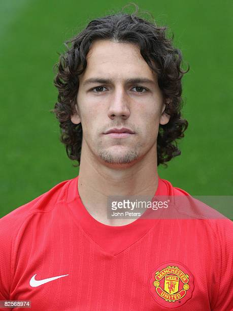 Rodrigo Possebon of Manchester United poses during the club's official annual photocall at Old Trafford on August 27 2008 in Manchester England
