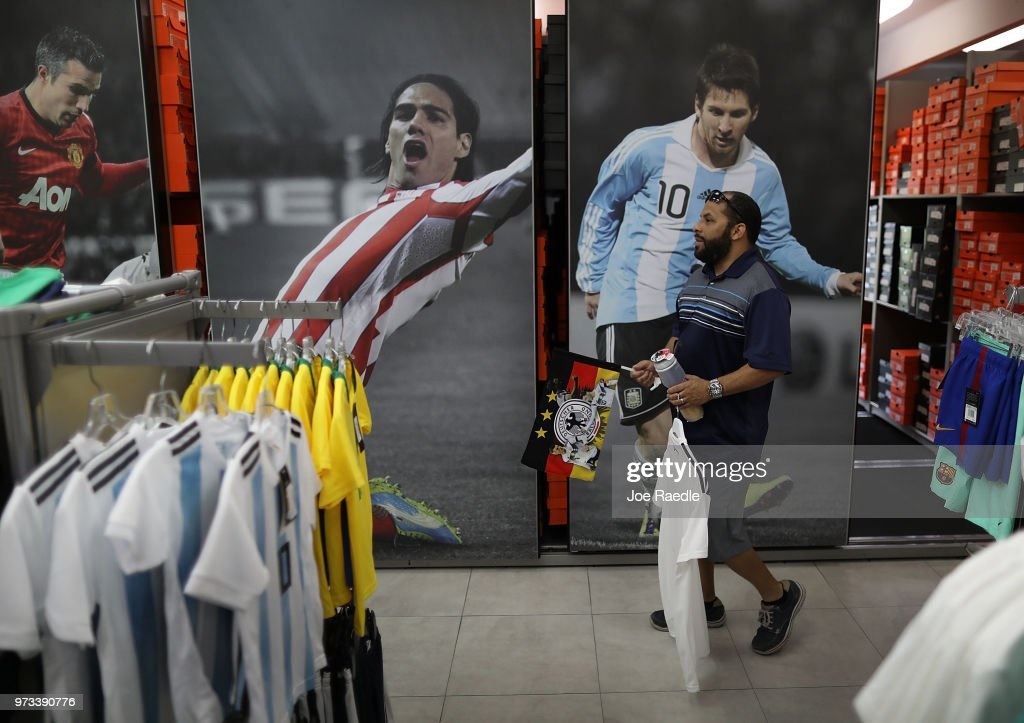Rodrigo Prego shops at the Soccer Locker store for German soccer team items as he prepares to show his support for his favorite World Cup soccer team that is in the tournament being held in Russia on June 13, 2018 in Miami, Florida. As the world prepares for the kickoff of the World Cup soccer tournament tomorrow, FIFA announced today that North America will host the tournament in 2026.