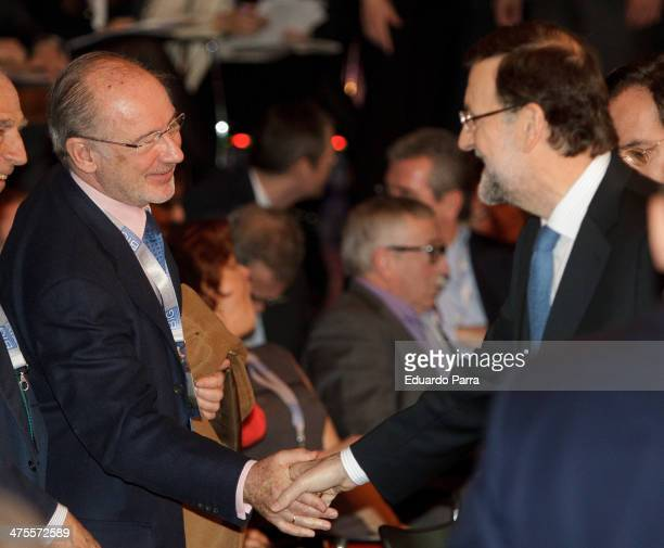Rodrigo Rato and President of the Government of Spain Mariano Rajoy attend 'Proyecto Europa' press conference at Casa de America on February 28 2014...