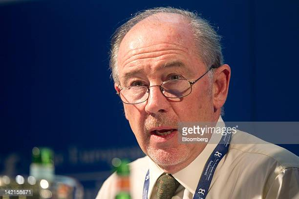 Rodrigo Rato chairman of Bankia SA speaks during an afternoon session at the Ambrosetti Workshop in Cernobbio near Como Italy on Friday March 30 2012...