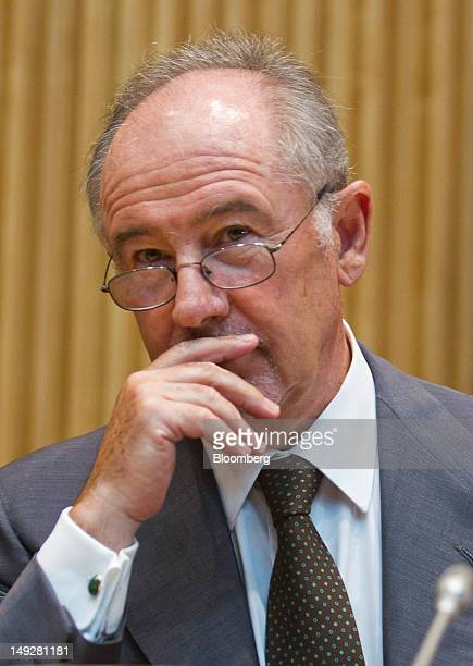 Rodrigo Rato the former chairman of Bankia SA reacts as he speaks before a parliamentary committee in Madrid Spain on Thursday July 26 2012 The...