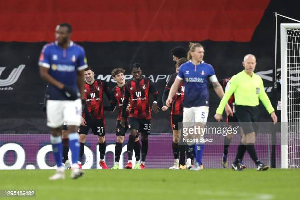 Rodrigo Riquelme of AFC Bournemouth celebrates with teammates after scoring his team's second goal during the FA Cup Third Round match between Oldham...