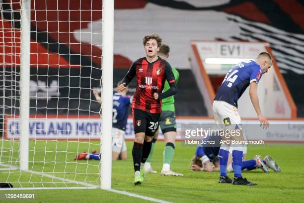 Rodrigo Riquelme of Bournemouth celebrates after he scores a goal to make it 2-1 during FA Cup 3rd Round match between Oldham Athletic and AFC...