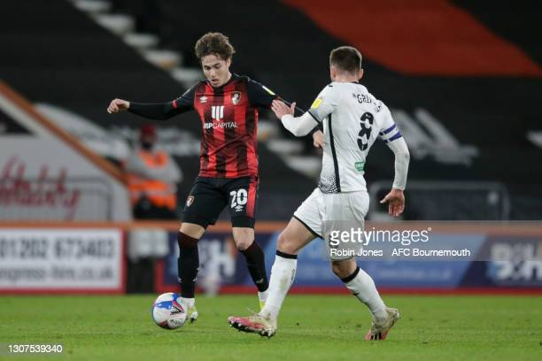 Rodrigo Riquelme of Bournemouth takes on Matt Grimes of Swansea City during the Sky Bet Championship match between AFC Bournemouth and Swansea City...