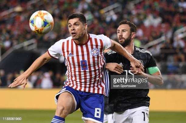 Rodrigo Rojas of Paraguay in action against Miguel Layun of Mexico during the International Friendly Match between Mexico and Paraguay at Levi's...