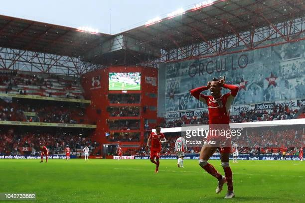 Rodrigo Salinas of Toluca celebrates after scoring the first goal of his team during the 10th round match between Toluca and Necaxa as part off the...