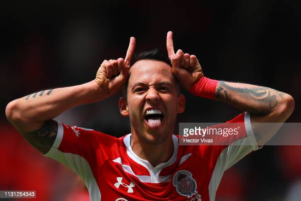Rodrigo Salinas of Toluca celebrates after scoring the second goal of his team during the 11th round match between Toluca and Atlas as part of the...