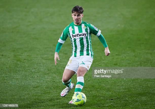 Rodrigo Sanchez of Real Betis in action during the La Liga Santader match between Real Betis and RC Celta at Estadio Benito Villamarin on January 20,...