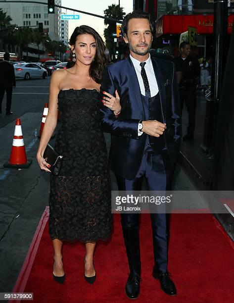 Rodrigo Santoro and Mel Fronckowiak attend the premiere of Paramount Pictures' 'BenHur' on August 16 2016 in Hollywood California