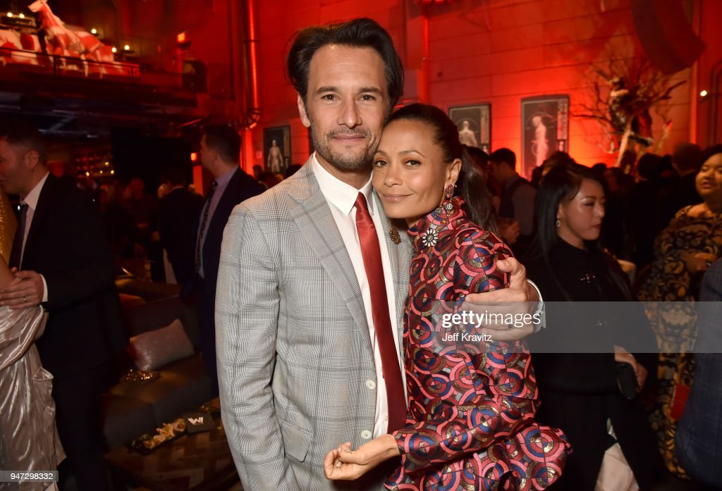 Rodrigo Santoro (L) and Thandie Newton attend the Los Angeles Season 2 premiere of the HBO Drama Series WESTWORLD at The Cinerama Dome on April 16, 2018 in Los Angeles, California.