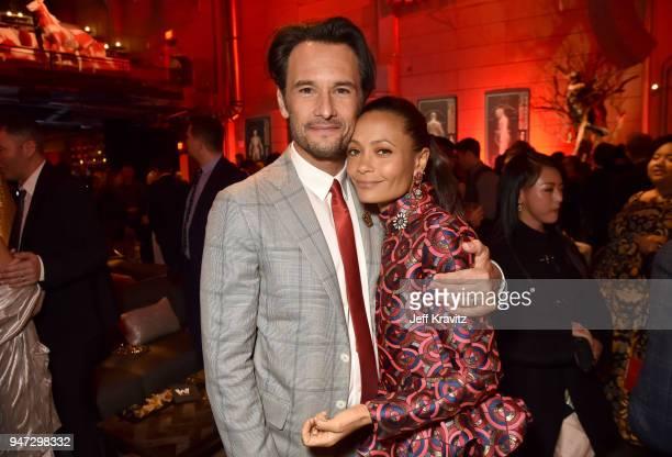 Rodrigo Santoro and Thandie Newton attend the Los Angeles Season 2 premiere of the HBO Drama Series WESTWORLD at The Cinerama Dome on April 16 2018...