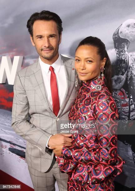 Rodrigo Santoro and Thandie Newton attend the Premiere of HBO's Westworld Season 2 at The Cinerama Dome on April 16 2018 in Los Angeles California