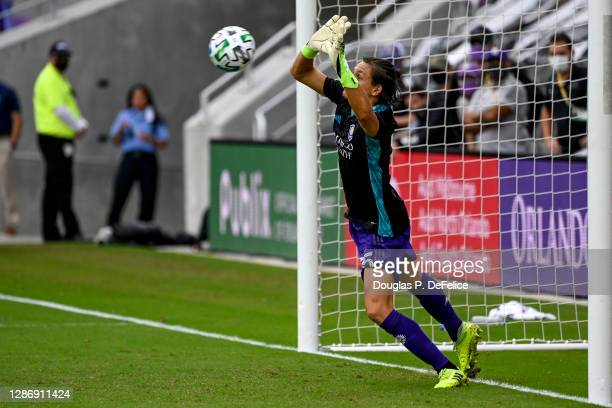 Rodrigo Schlegel of Orlando City SC makes a save in net after having to substitute for Pedro Gallese who received a red card during penalty kicks...