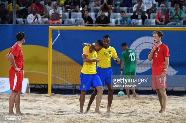 Rodrigo Soares Da Costa of Brazil celebrates scoring a goal during the Men's Beach Soccer Group A Preliminary match between Brazil and Switzerland at...