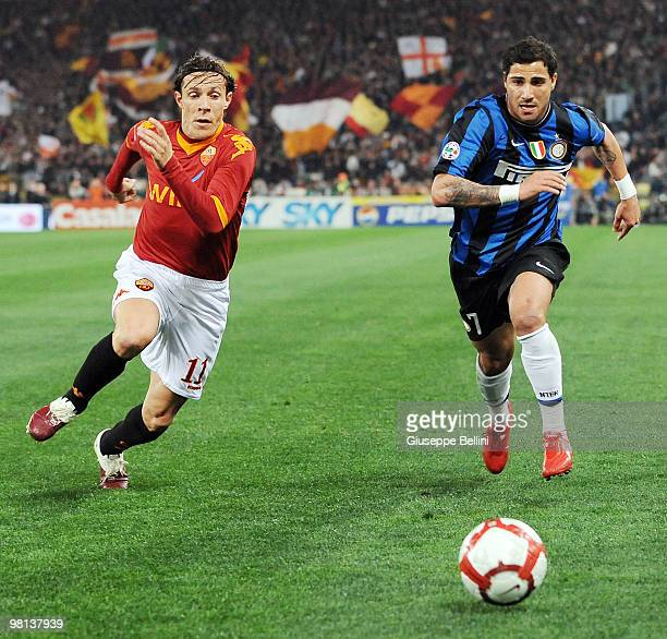Rodrigo Taddei of Roma and Ricardo Quaresma of Inter in action during the Serie A match between AS Roma and FC Internazionale Milano at Stadio...