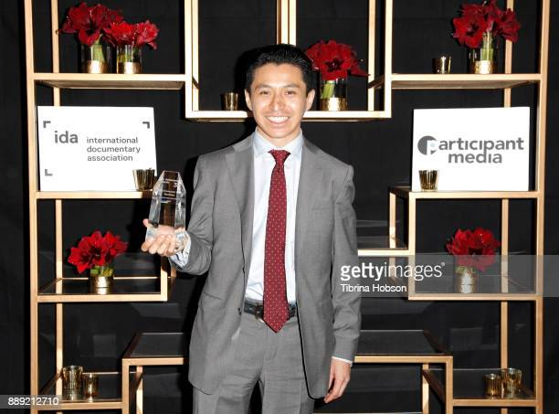 Rodrigo Trejo Villanueva accepts the Best Cinematography Award at the 33rd Annual IDA Documentary Awards at Paramount Theatre on December 9 2017 in...