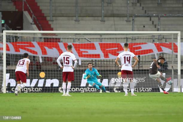 Rodrigo Zalazar of St Pauli scores his team's first goal from the penalty spot during the Second Bundesliga match between FC St. Pauli and 1. FC...