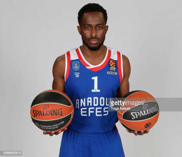 Rodrigue Beaubois #1 of Anadolu Efes Istanbul poses during the Anadolu Efes Istanbul 2018/2019 Turkish Airlines EuroLeague Media Day at Sinan Erdem...
