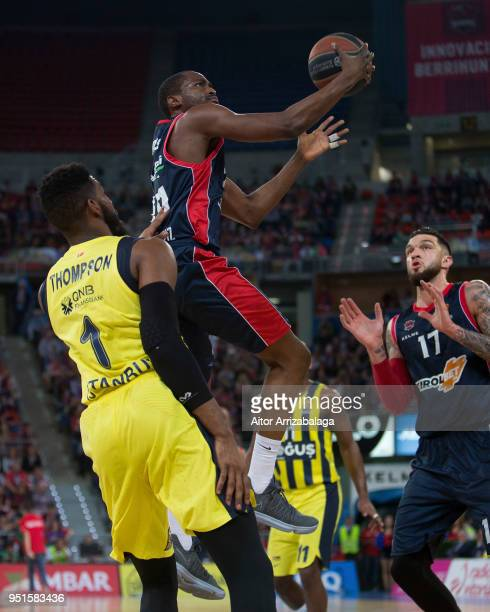 Rodrigue Beaubois #10 of Kirolbet Baskonia Vitoria Gasteiz in action during the Turkish Airlines Euroleague Play Offs Game 4 between Kirolbet...