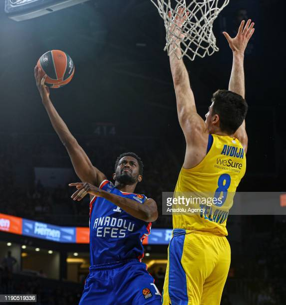 Rodrigue Beaubois of Anadolu Efes in action against Deni Avdija of Maccabi FOX during the Turkish Airlines Euroleague week 16 basketball match...
