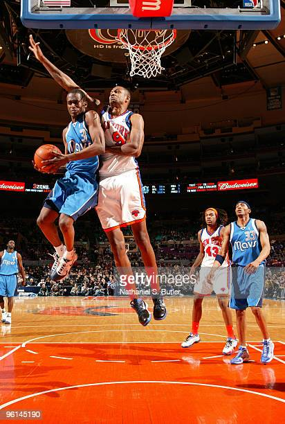 Rodrigue Beaubois of the Dallas Mavericks goes up against Jonathan Bender of the New York Knicks on January 24 2010 at Madison Square Garden in New...