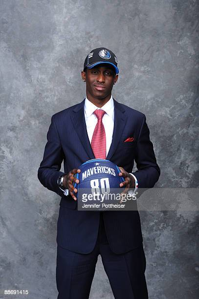 Rodrigue Beaubois selected number twenty five overall by the Oklahoma City Thunder and later traded to the Dallas Mavericks poses for a portrait...