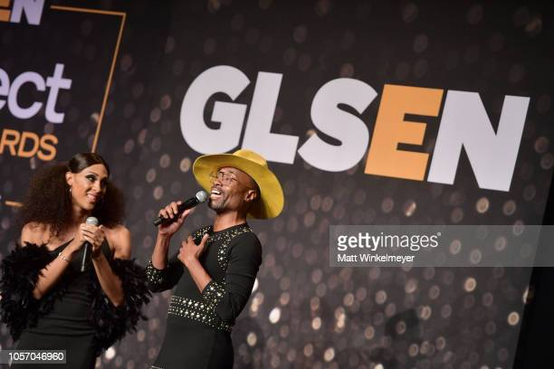 MJ Rodriguez and Billy Porter attend the GLSEN Respect Awards at the Beverly Wilshire Four Seasons Hotel on October 19 2018 in Beverly Hills...