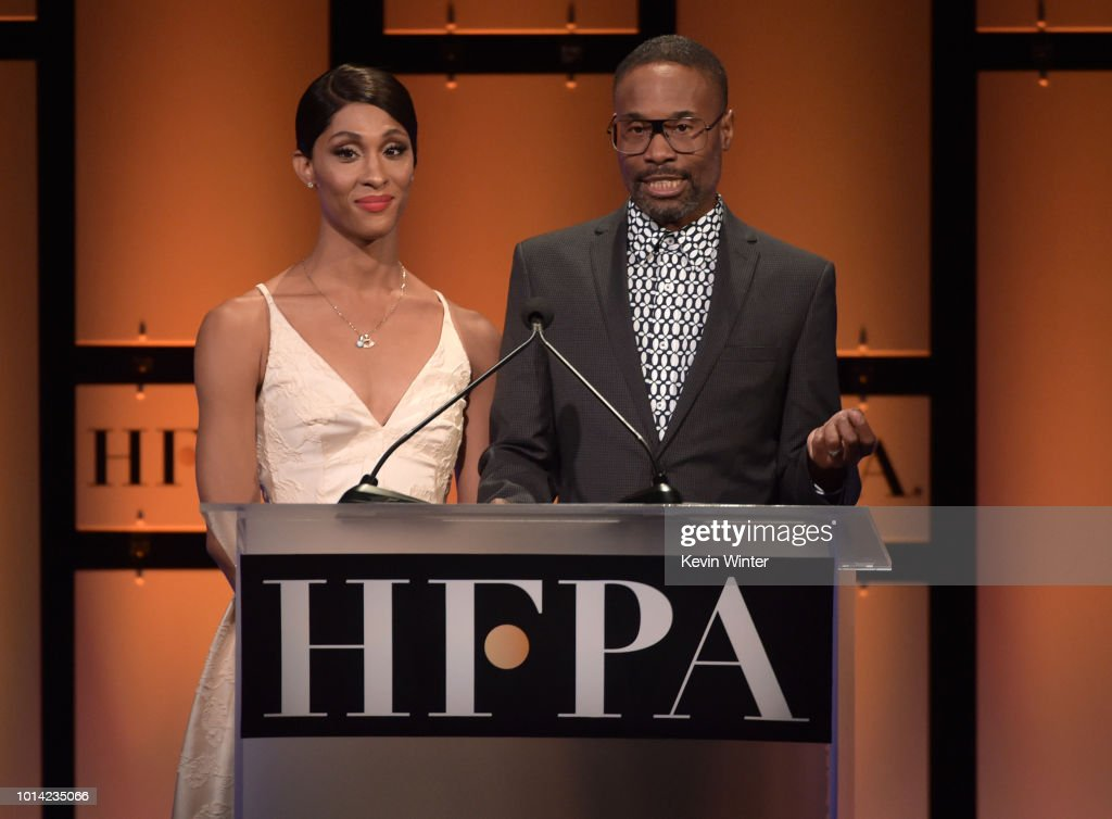MJ Rodriguez and (R) Billy Porter onstage during the Hollywood Foreign Press Association's Grants Banquet at The Beverly Hilton Hotel on August 9, 2018 in Beverly Hills, California.